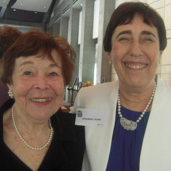 All in pearls, Past president Marion Berkovitz, left, and WWW chair Rosemary Rubin enjoy the luncheon atmosphere.